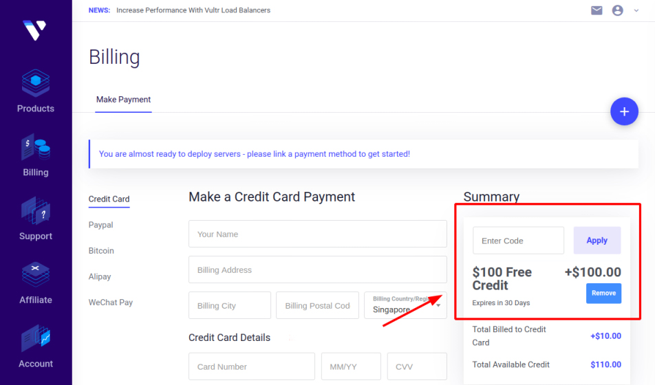 100 free credit for New Account