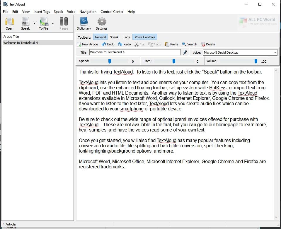 NextUp TextAloud 4.0 for Windows 10