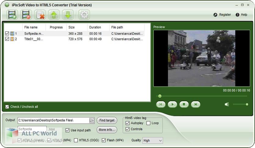 iPixSoft Video to HTML5 Converter 3 Free Download