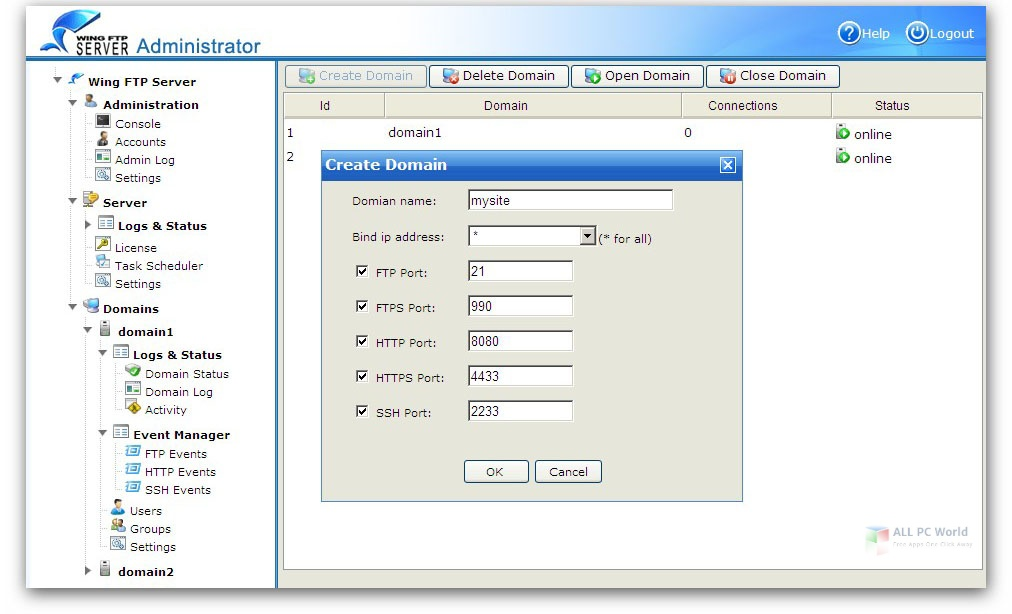 Wing FTP Server Corporate 6 for Win 10 Free Download
